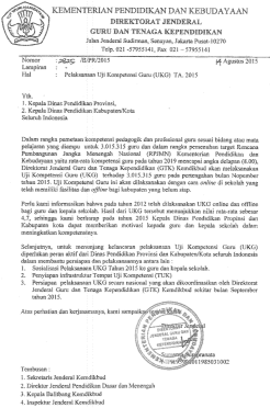 Surat Edaran Ditjen GTK tentang UKG 2015